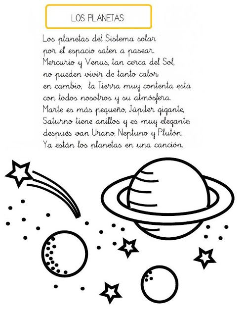 Menta Más Chocolate - RECURSOS y ACTIVIDADES PARA EDUCACIÓN INFANTIL: Universo: Poesías y Adivinanzas