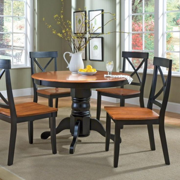 home styles 5 piece black u0026 cottage oak dining set