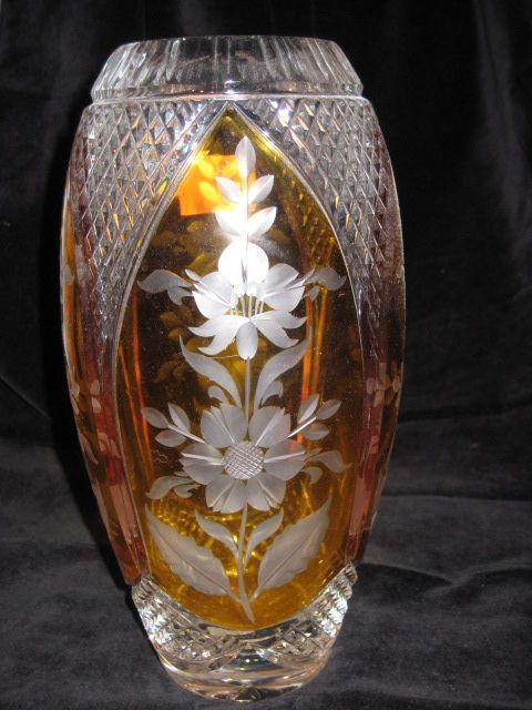Crystal Clear Made In Poland - Julia Cut Crystal Amber and Clear Glass Vase Made in Poland from ...