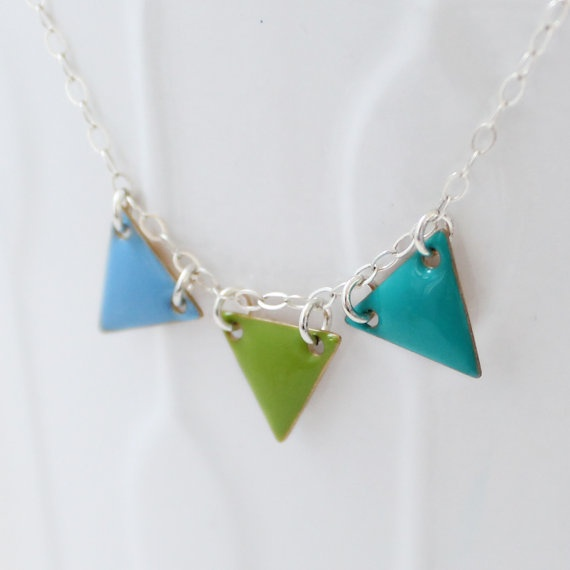 Triangle Necklace Enamel Bunting Sterling Silver Pennant Banner Multi Color
