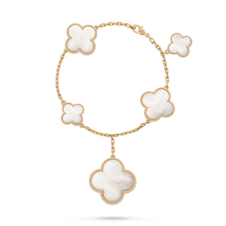 van cleef u0026 arpels magic alhambra bracelet yellow gold and mother of pearl