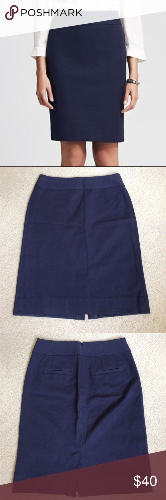 """Banana Republic Navy Pencil Skirt EUC Banana republic navy blue pencil skirt with slit in back. Perfect for business casual attire. 60% cotton 35% viscose 5% spandex. Waist 14 1/2"""" length 22 1/2"""". Only worn once or twice and in excellent used condition. Banana Republic Skirts Pencil"""