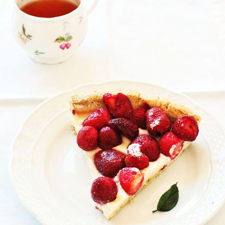 Tarta #SinGluten de chocolate blanco y fresas
