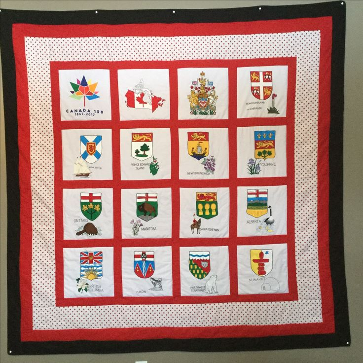 Canada 150 quilt. Hand embroidered