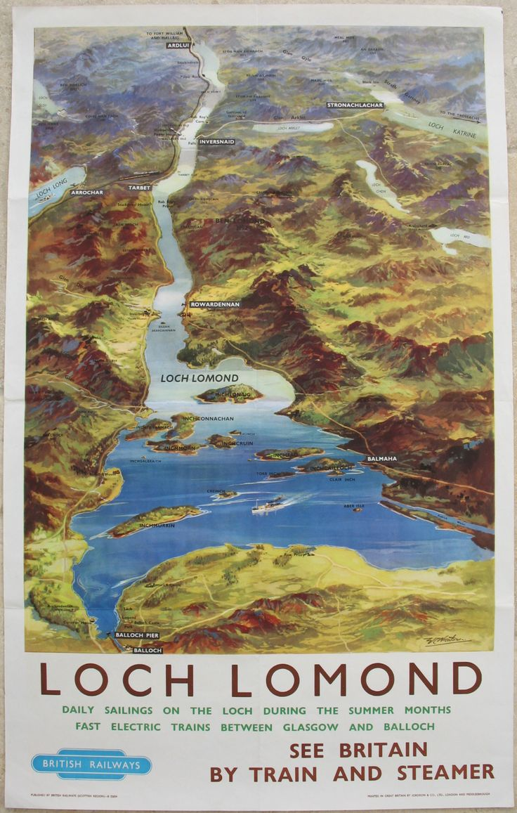Loch Lomond, by WC Nicolson. An aerial view map of Loch Lomond and surroundings, clearly showing all the small islands within the loch. Near the bottom is Balloch Pier from where most of the ferries plied their trade around the loch, one of which is shown in the middle of the widest part. Original Vintage Railway Poster available on originalrailwayposters.co.uk
