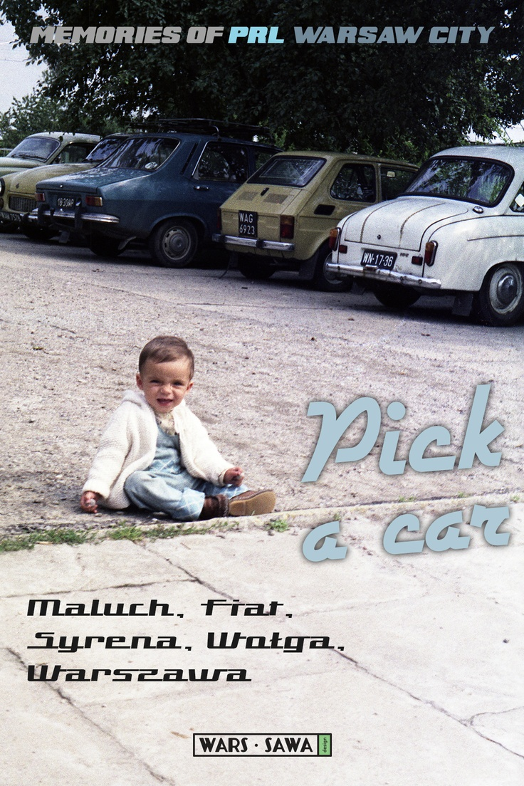 Pick a car!  Varsavian postcard :D Postcard by Wars Sawa Design, Warszawa, Warsaw, Memories of PRL.