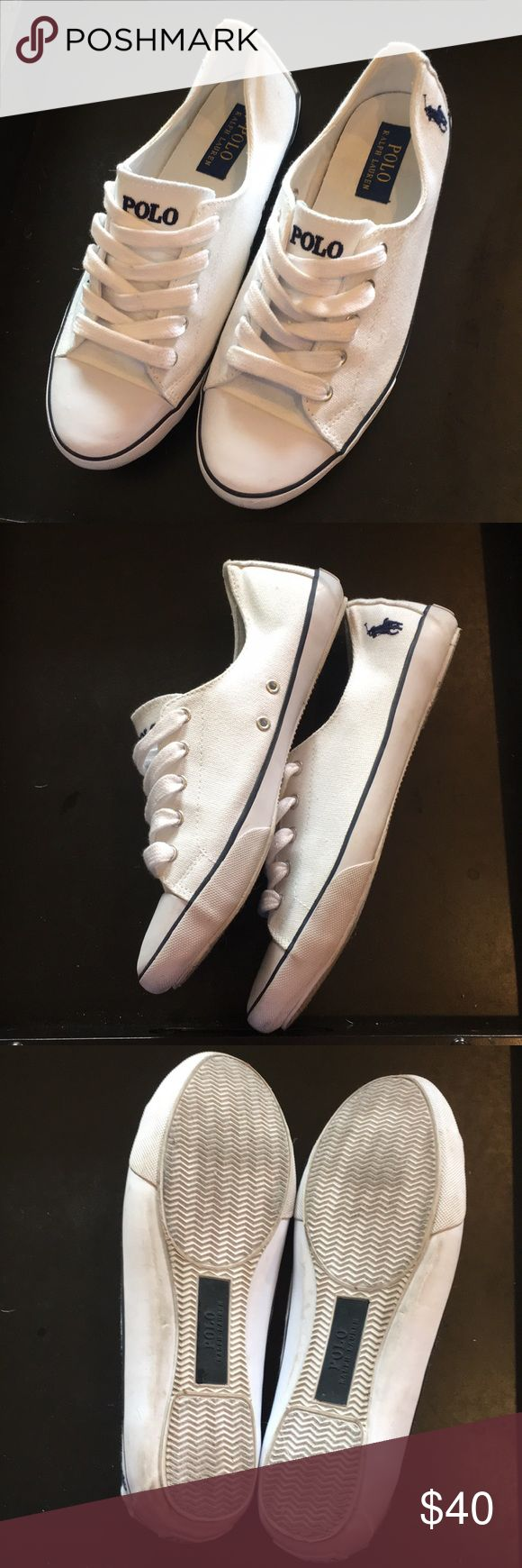 Polo Ralph Lauren Tennis Shoes Sz 8.5 Classic preppy white tennies can make any casual outfit look classic and clean. Only worn a few times! Polo by Ralph Lauren Shoes Sneakers