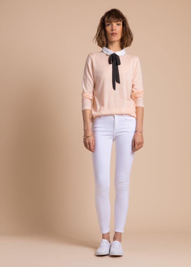 Collection PE 17 | La petite étoile Pull chemise en maille avec col claudine et cravate  chic casual wear  casual chic
