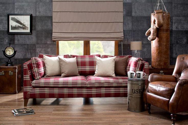 Checkered sofa in private office. #dekoriapl #private #office #chceckered #sofa #mans #climate #interior