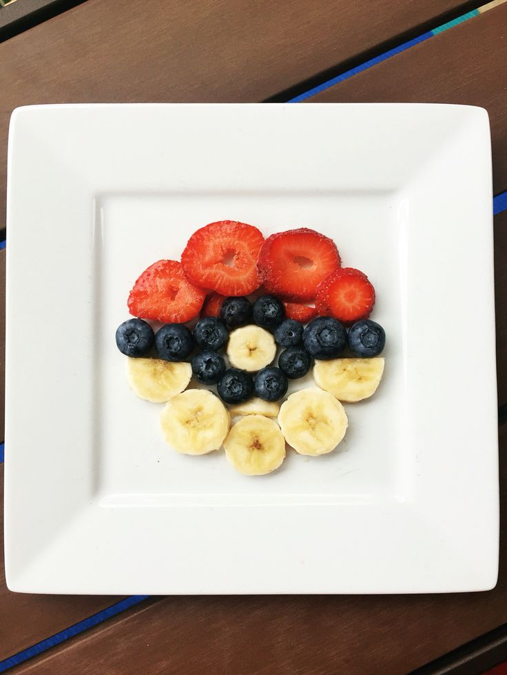 Pokemon healthy snack--put this atop a birthday pancake and you've got birthday breakfast!