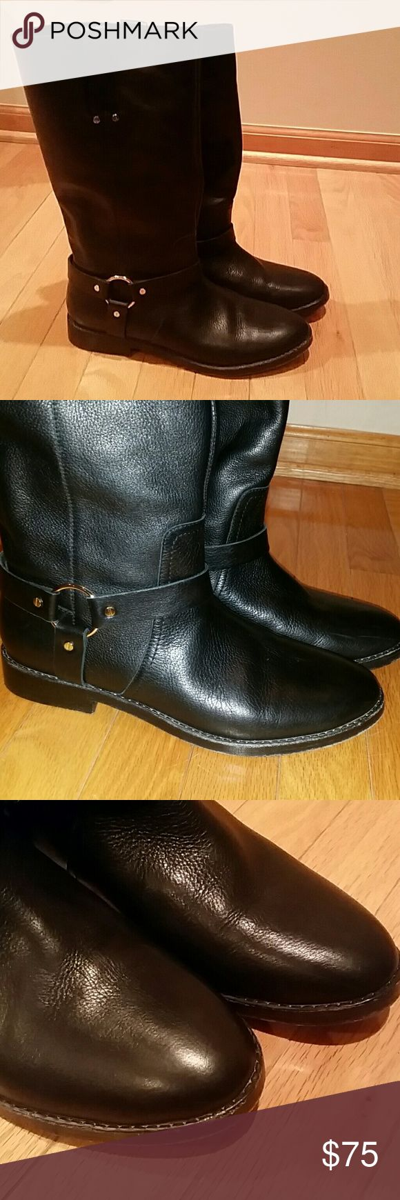 Joie Mid calf boots Beautiful mid calf boots. No zipper. Leather. Scuffed on bottom. Buckles on inner and outer ankle. Joie Shoes Heeled Boots