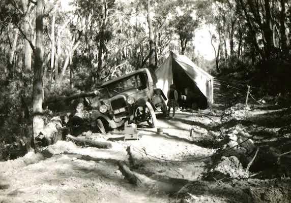 Car stuck on the Princes Highway in 1947. VicRoads Centenary 1913-2013.