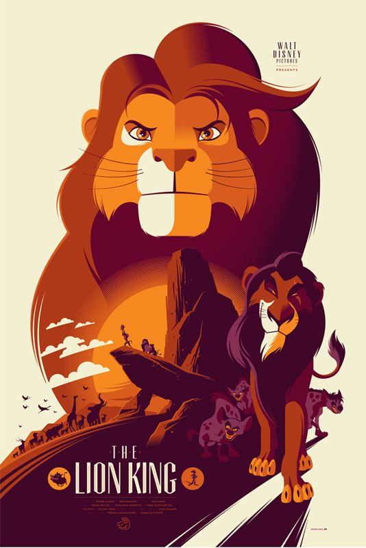 The Lion King / Tom Whalen / 10 Reimagined Disney Posters Bring Your Favorite Childhood Characters Back To Life