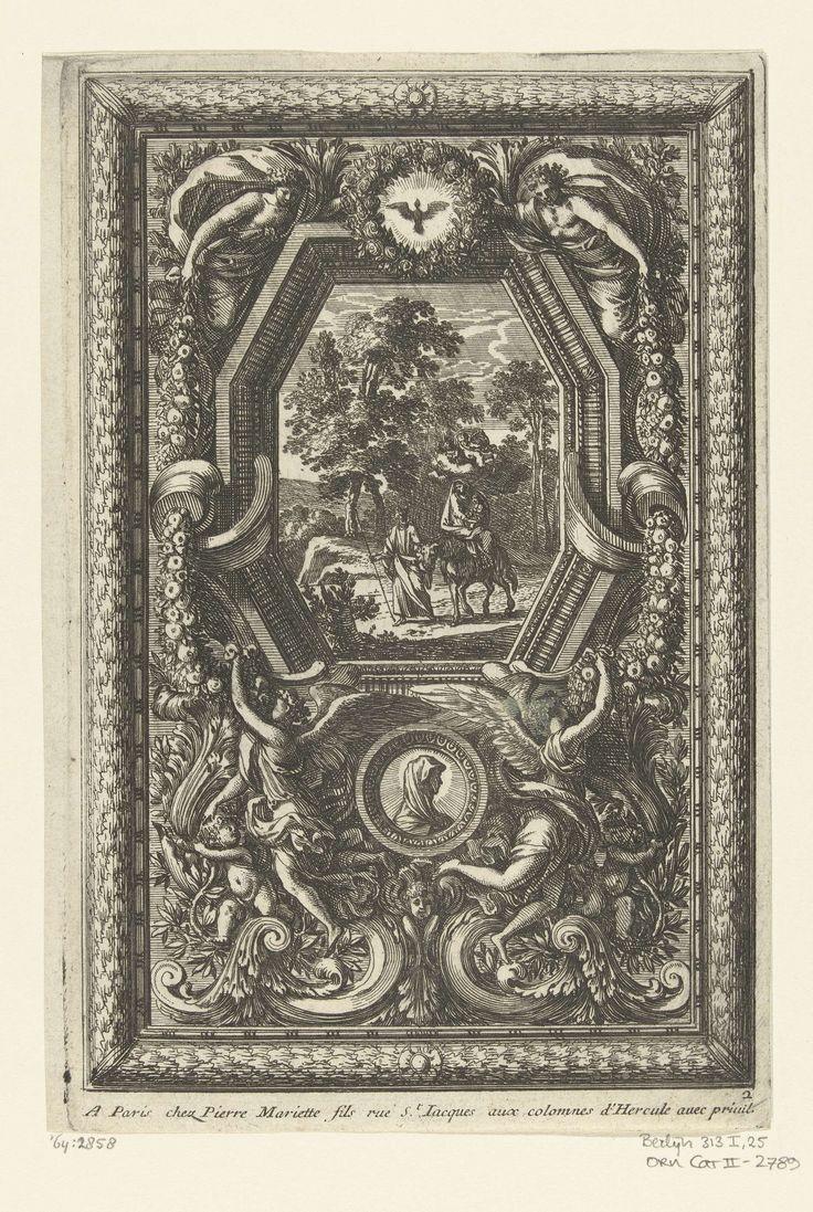 Jean Lepautre | Paneel met schilderij van Vlucht naar Egypte, Jean Lepautre, c. 1655 - c. 1657 | Paneel in lijst van eikenbladeren.