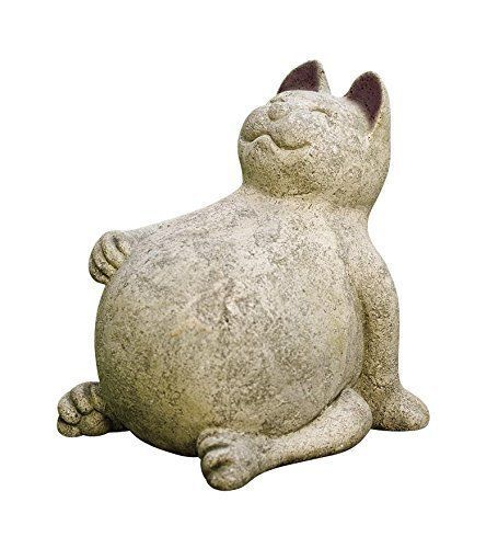 Hand Carfted Happy Cat Volcanic Ash Outdoor Garden Sculture Art Design Stone US #KandN