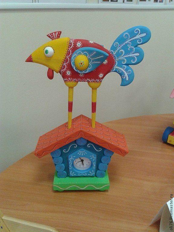 Купить Часы в теремке. - часы, арт-объект, скульптура, петушок, теремок, роспись, интерьерная игрушка