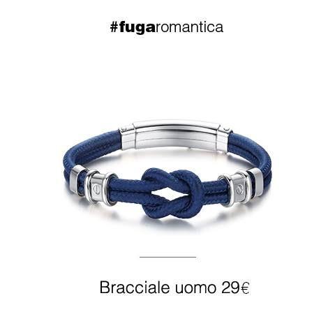 Bracciale in acciaio con cordino blu Luca Barra Gioielli! #bracciale #menjewels #lucabarragioielli #tendenzemodauomo2015 #estate2015 #outfit #look