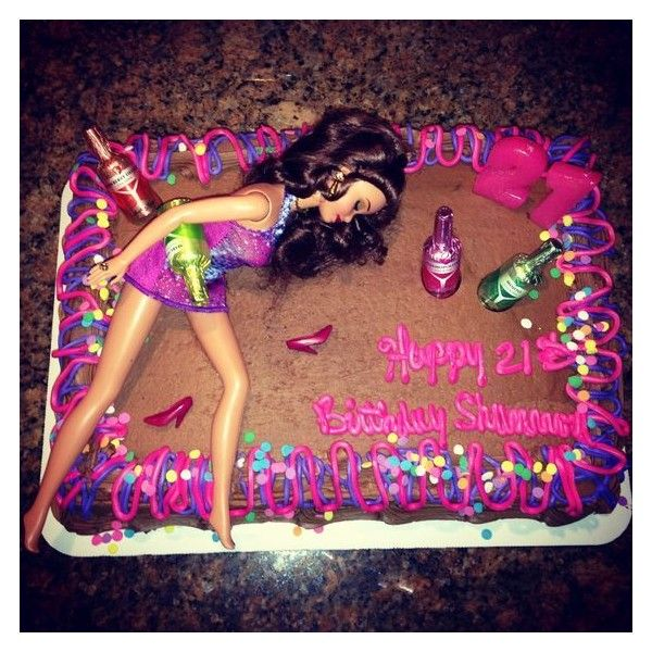 Drunk barbie cake ❤ liked on Polyvore featuring home and kitchen & dining