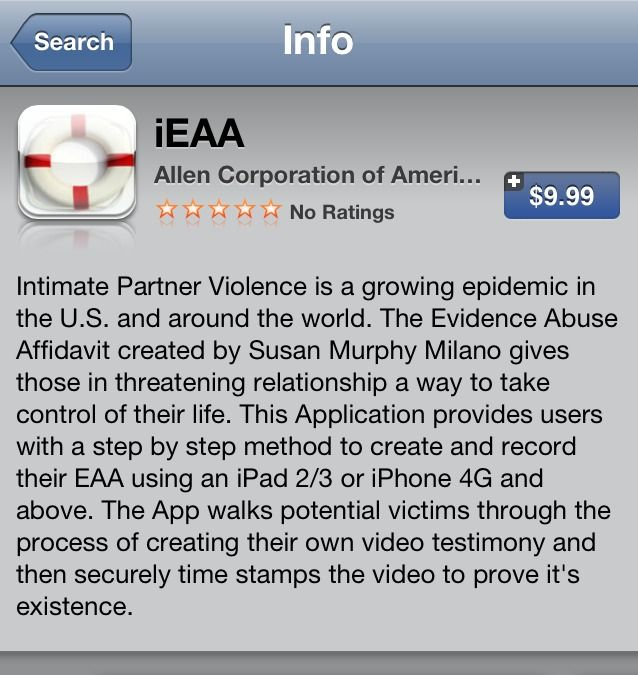 Celebrate Independence! Apple Store Unveils the iEAA (Evidentiary Abuse Affidavit) App for Victims of Violence  Long awaited new Apple App, the iEAA (Evidentiary Abuse Affidavit) is making its debut in the Apple Store on the Fourth of July.  Created by Susan Murphy-Milano, the EAA was developed into the Apple App format by Wetstone Technologies and Chief Scientist, Chet Hosmer.