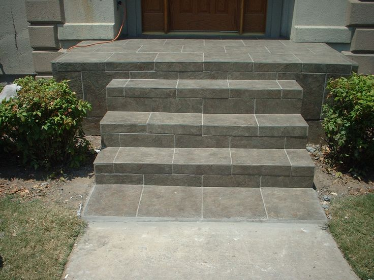 Slate tile front porch and steps future house for Front door steps ideas