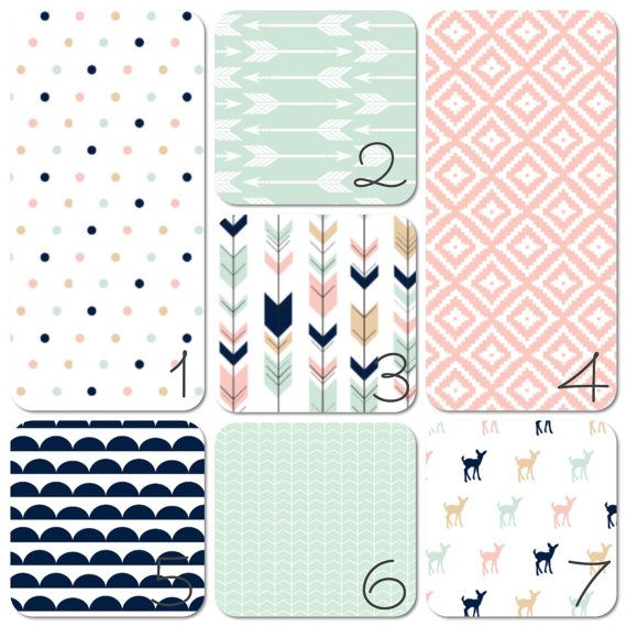 Nursery Bedding Set Pink Navy and Mint by LullabiesLollipops