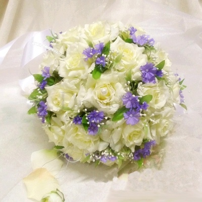 $30 Bridal Bouquet in Raw Silk with Little Lilac Flower Embellishment