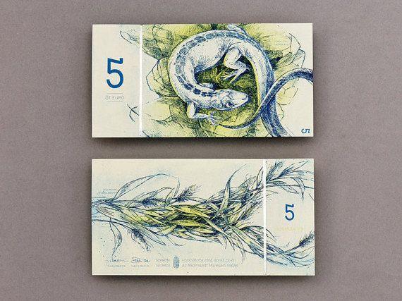 Hungarian euro original etching prints | 5 euro lizard and grass