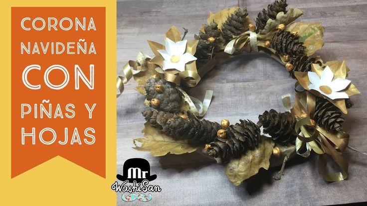 Corona navidena Con Material Reciclado Y Piñas