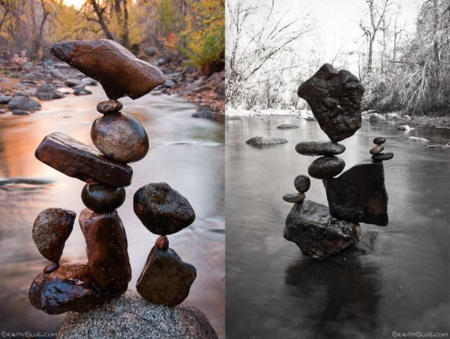 Land artist Michael Grab creates astonishing towers and orbs of balanced rocks using little more than patience and an astonishing sense of balance. The art of stone balancing has been practiced by various cultures around the world for centuries. Over the past few years of practicing rock balance, simple curiosity has evolved into therapeutic ritual, ultimately nurturing meditative presence, mental well-being, and artistry of design.