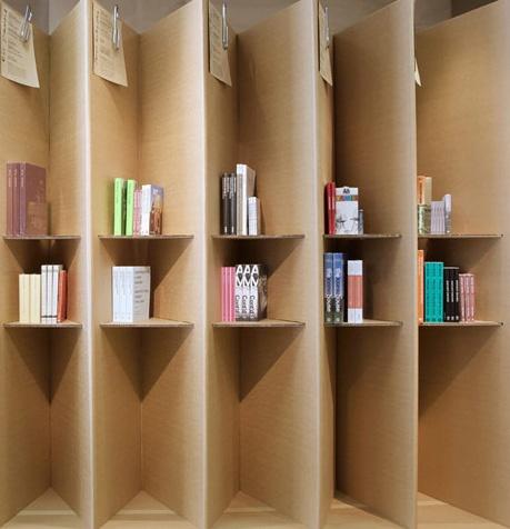Cardboard shelves. Love this idea !