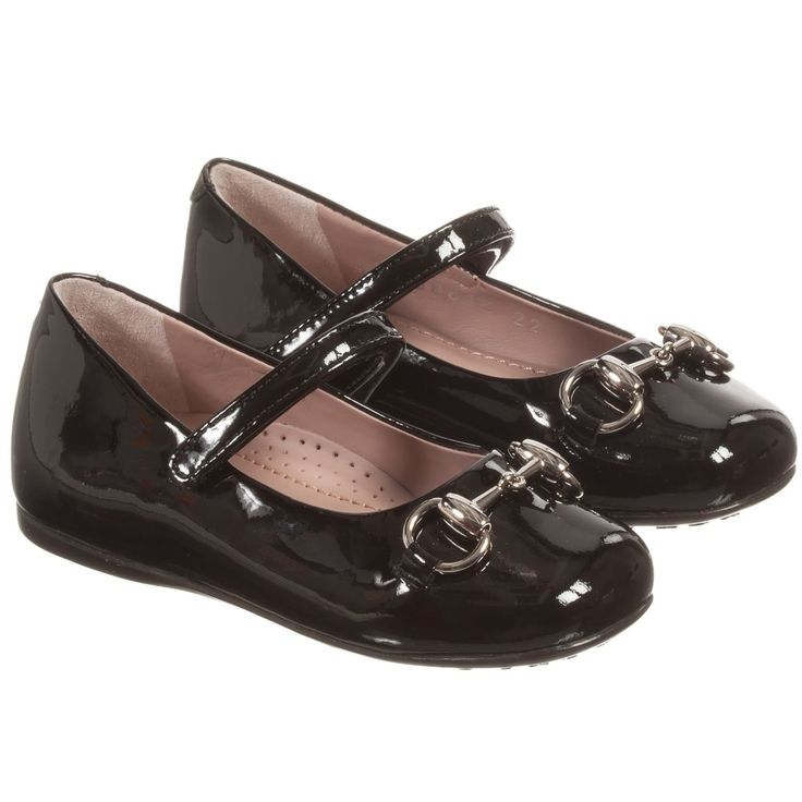 Gucci Girls Black Patent Leather Shoes at Childrensalon.com