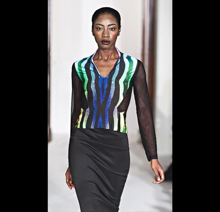 J mesh and print blouse. On the runway.
