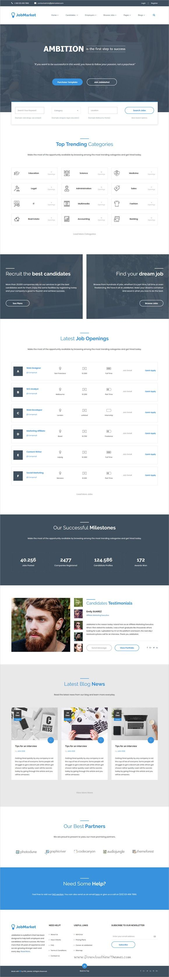 JobMarket is clean and modern design 3in1 responsive #HTML5 template for #Job board and #JobSearch portal website download now..
