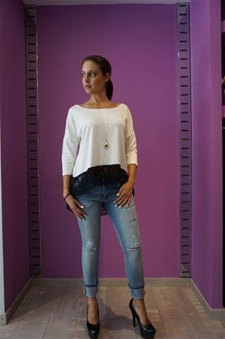 La Bella Donna - Γυναικεια μπλουζα με δαντελα και φιογκο