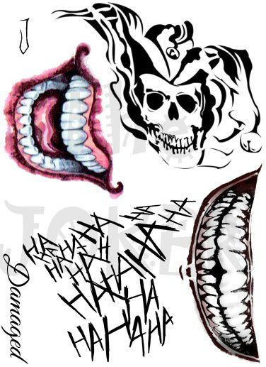 Joker tattoos suicide squad tattoos cosplay tattoos for Suicide squad face tattoo