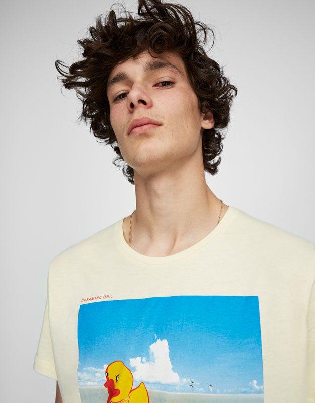 PullAndBear - футболка с принтом «утята» - светло-желтый - 05236504-I2017