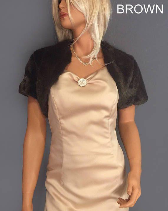 Faux fur bolero shrug jacket short sleeve in Mink bridal