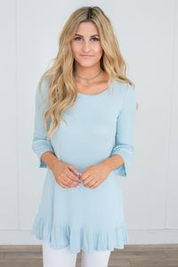 Ribbed Ruffle Hem Tunic - Sky Blue