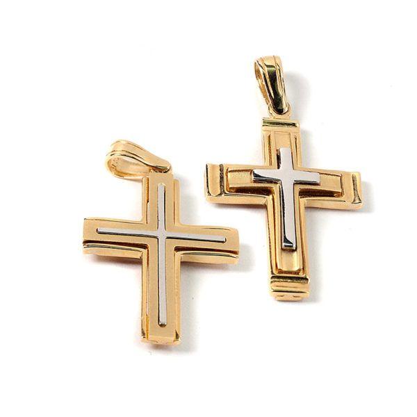 Σταυρός δίχρωμος  χρυσός Κ14  7849