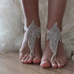 Strass chaussures de plage, chaussures de mariage pour les photos de mariage de plage, sandales aux pieds nus,