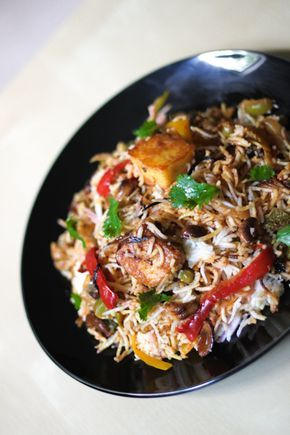 Paneer Biryani is rice flavored and layered with spices and cottage cheese/paneer.