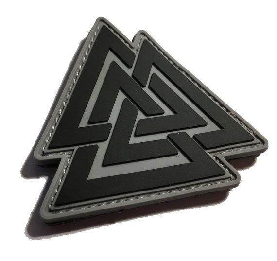 """The Viking Odin Symbol Valknut Unicursal 3x3"""" Valhalla PVC Morale Patch"""
