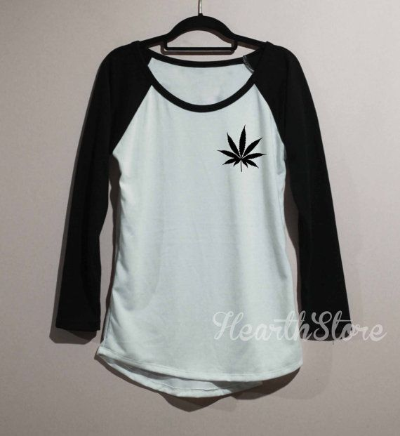 Weed Shirt Cannabis Leaf Marijuanna Baseball Raglan by HearthStore