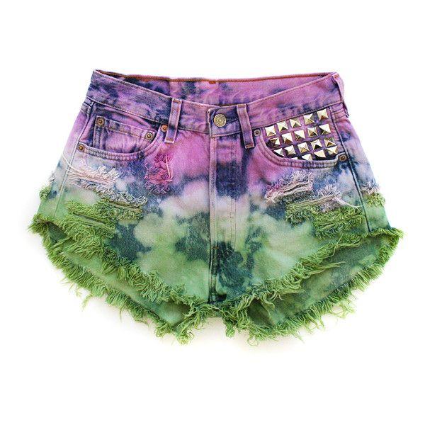 Ivy - Vintage Dyed Frayed Studded Short ❤ liked on Polyvore featuring shorts, bottoms, short shorts, runwaydreamz shorts, frayed shorts, studded shorts and vintage short shorts
