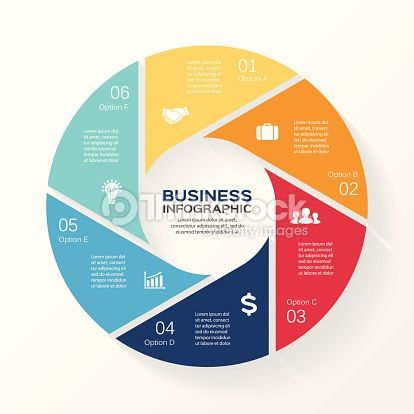 Vector Art : Circle infographic, diagram, presentation 6 options