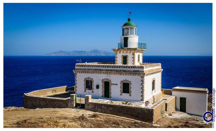 The majestic Lighthouse of Cape Spathi is located at the southern part of Serifos, Cyclades.   Ο επιβλητικός Φάρος στο Ακρωτήρι Σπαθί βρίσκεται στο νότιο τμήμα της Σερίφου, Κυκλάδες. Μάθετε περισσότερα στο: http://www.discover-serifos.com/el/anakalupste/aksiotheata/simeia-endiaferontos/faros