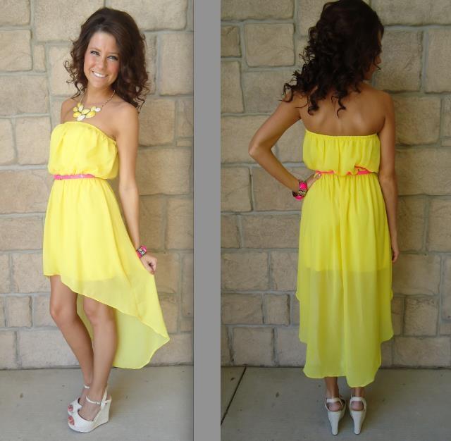 Summer long-short yellow dress