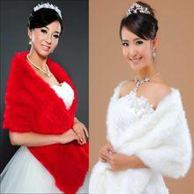 Lady Noble Uzun Faux Kürk Düğün Gelin Zarif Şal Stoles Sarar Cape Kırmızı Bej Sıcak Satış(China (Mainland))