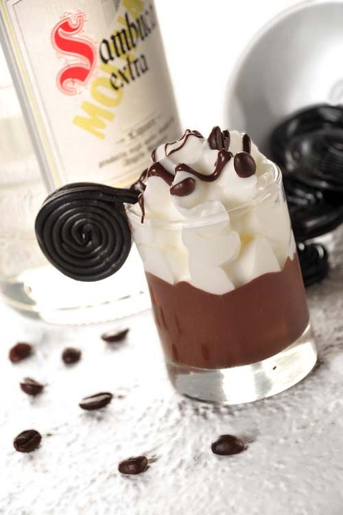 Italian Cafe Romano:  1 oz white sambuca,  1 oz coffee liqueur,  1 oz half-and-half.  Pour sambuca, coffee liqueur & cream into a cocktail shaker (double to make more). Shake well, strain into a cocktail glass, & serve topped with whip & chocolate syrup. CHEERS!