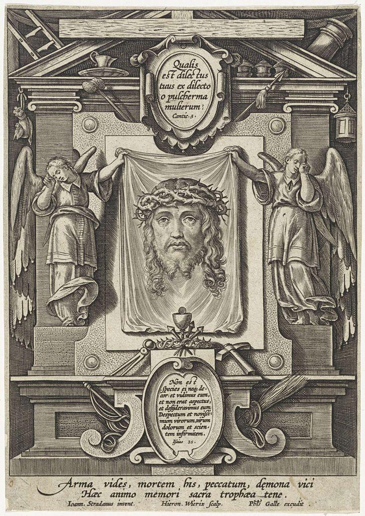 Twee engelen met het sudarium, Hieronymus Wierix, Philips Galle, 1563 - voor 1612